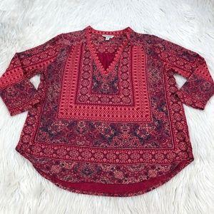Lucky Brand Boho Pop Over Long Sleeve Knit Top